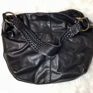 LUCKY BRAND Black Leather Sack
